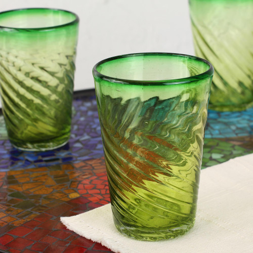 Collectible Handblown Glass Green Tumbler Drinkware Set of 6 'Contoured'