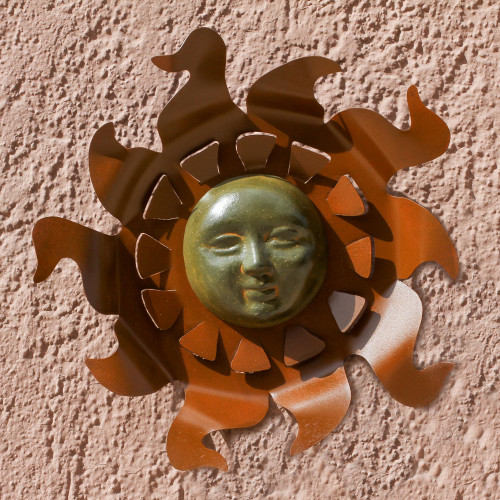 PreHispanic Steel Sculpture Solar Face Wall Art 'Aztec Sun'