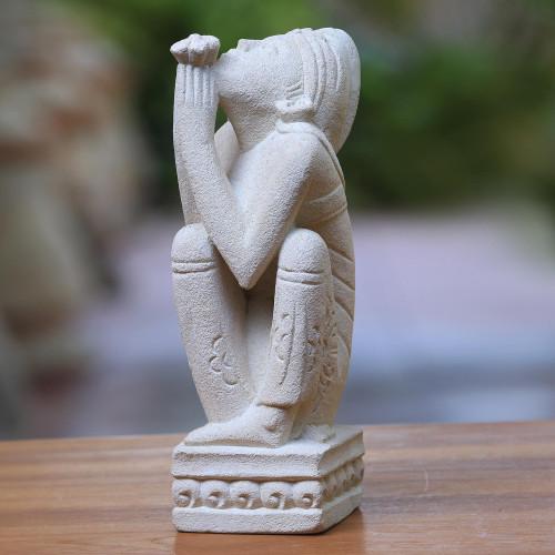 Unique Indonesian Sandstone Sculpture 'Man at Prayer'