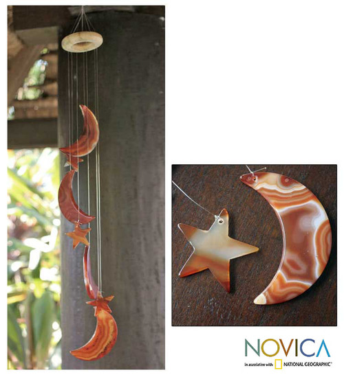 Unique Agate Wind Chimes 'Moon and Stars'