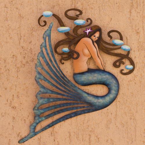 Handcrafted Steel Wall Sculpture 'Shy Mermaid'