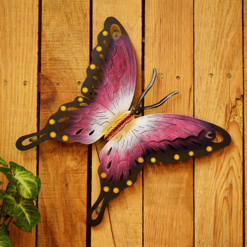 Handmade Purple Butterfly Steel Wall Sculpture Mexico 'Soul of Femininity'