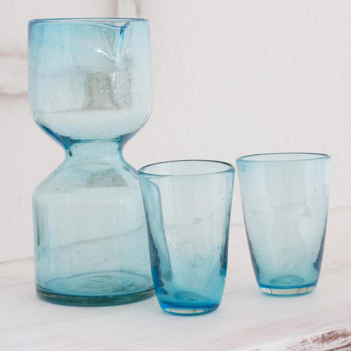Handblown Recycled Glass Pitcher Set for 2 'Azure Chalice'