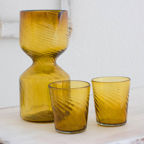 Handblown Glasses and Pitcher Carafe Set for 2 'Amber Chalice'