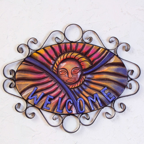 Outdoor Living Handcrafted Sunny Welcome Sign 'Mexican Sun'