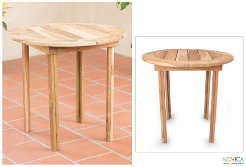 Teakwood round accent table 'Mexican Sierra'