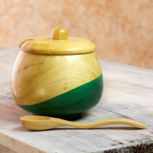 Dip Painted Hand Carved Wood Sugar Bowl 'Sweet Green'