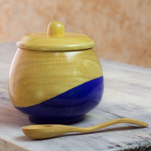 Dip Painted Hand Carved Wood Sugar Bowl 'Sweet Blue'