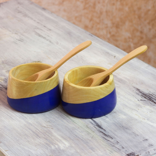 Salsa Bowls and Spoons Hand Crafted pair 'Spicy Blue'