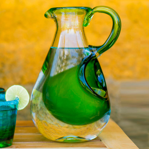 Hand Made Pitcher with Ice Chamber Blown Glass Art 'Fresh Lemon'