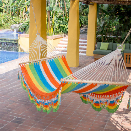 Handmade Multicolor Cotton Hammock from Nicaragua Single 'Tropical Colors'