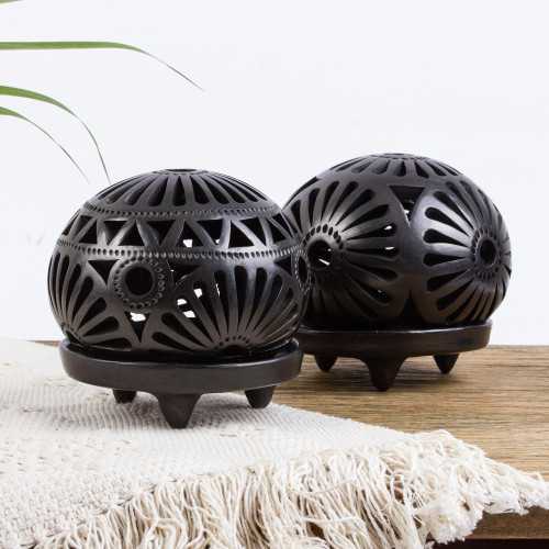 Oaxaca Black Pottery Tlight Candleholders pair 'Floral Harmony'
