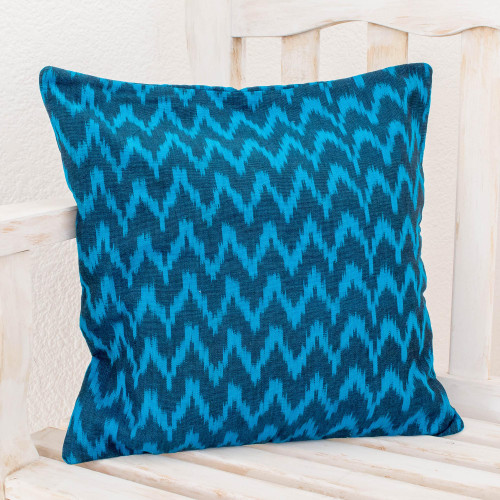 Handcrafted Cotton Cushion Cover 'Blue Midnight'