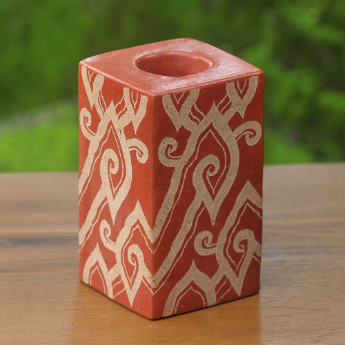 Handcrafted Javanese Terracotta Candleholder 'Brown Cloud Bamboo'