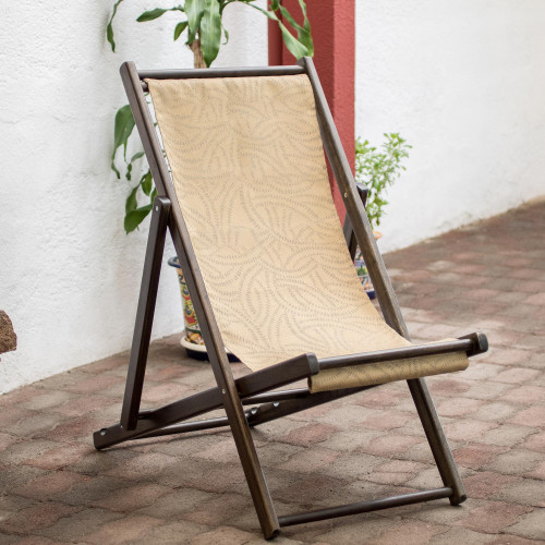 Wood and Canvas Adjustable Folding Lounge Chair small 'Forest Whisper'