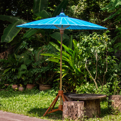 Handmade Blue Cotton and Bamboo Garden Umbrella 'Happy Garden in Turquoise'
