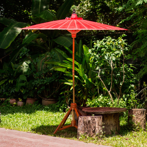 Bright Red Decorative Outdoor Umbrella from Thailand 'Happy Garden in Scarlet'