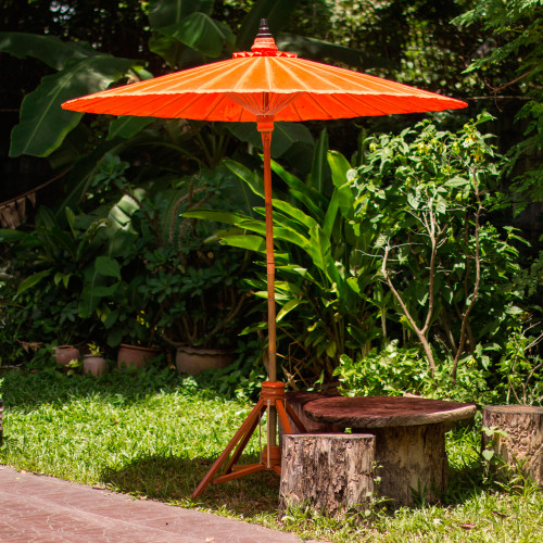 Artisan Crafted Decorative Orange Cotton Garden Umbrella 'Happy Garden in Orange'