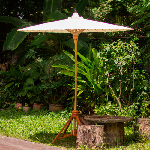 Handmade Thai Style Garden Umbrella in White Cotton 'Happy Garden in White'