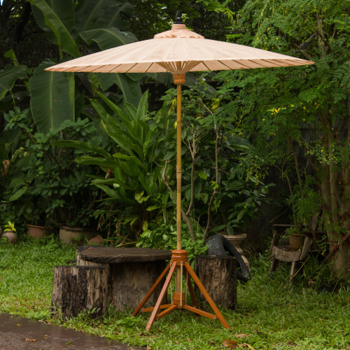 Handcrafted Outdoor Decor Garden Umbrella in Beige 'Happy Garden in Beige'