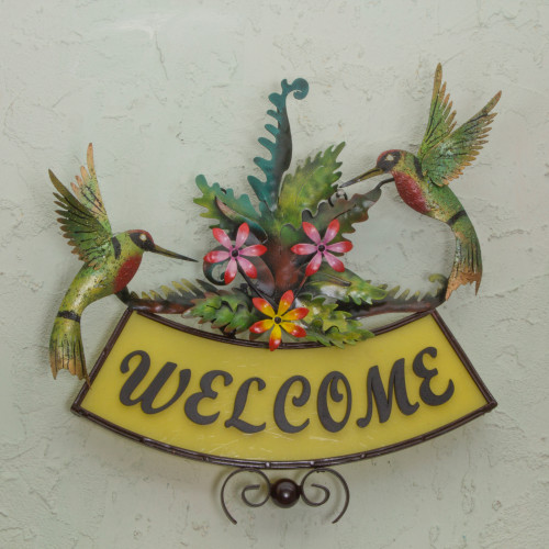 Iron Birds and Flowers on Hand Crafted Welcome Sign 'Happy Hummingbirds'