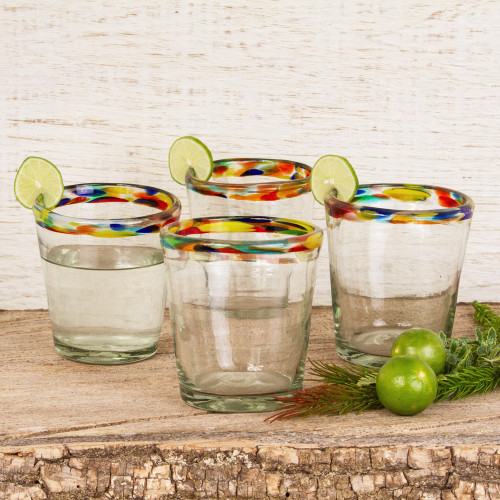 Colorful Handcrafted Blown Glass Juice Glasses Set of 6 'Confetti Path'