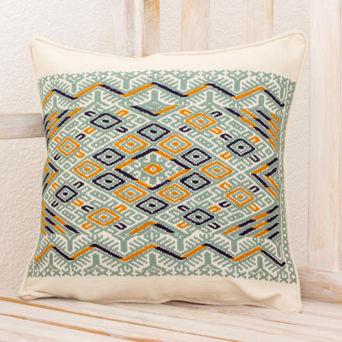 Maya Backstrap Woven Cotton Cushion Cover in Grey and White 'Ceiba Tree'
