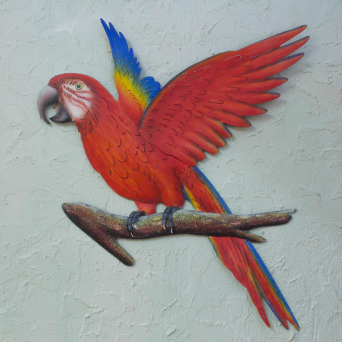 Handcrafted Red Steel Bird Theme Wall Sculpture from Mexico 'Scarlet Macaw'