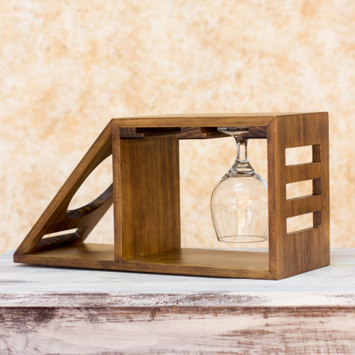Artisan Crafted Wood Holder for Wine Bottle and Glasses 'Organic Minimalism'