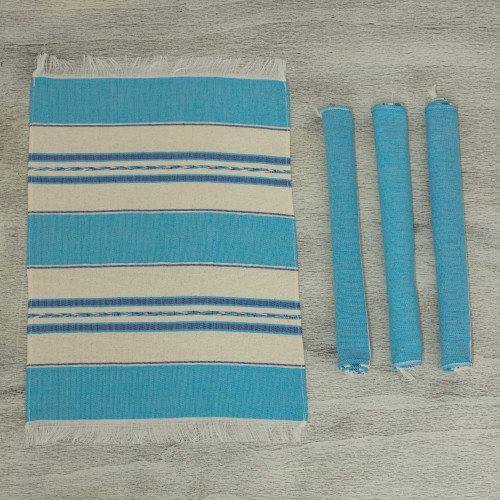 Set of 4 Hand Woven Cotton Blue and Beige Zapotec Placemats 'Oaxaca Sky'