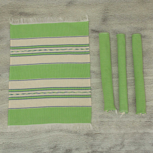 Green and Beige Hand Woven Zapotec Placemats Set of 4 'Oaxaca Meadow'