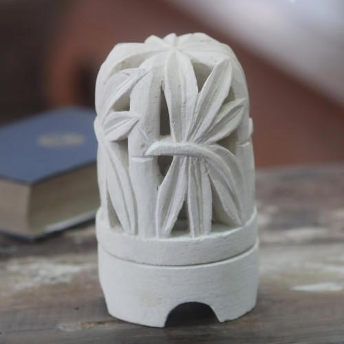 Limestone Bamboo Sculpture Tealight Candleholder 'Rustling Bamboo'