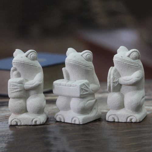 Artisan Crafted Limestone Balinese Frog Figurines Set of 3 'Musical Frogs I'