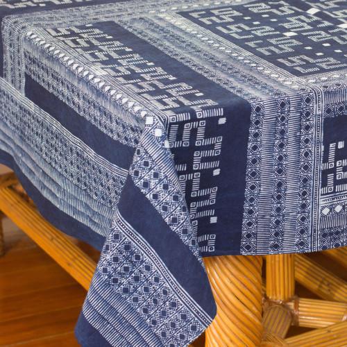 Indigo Blue Tablecloth Artisan Crafted Cotton Batik  'Hmong Lace'