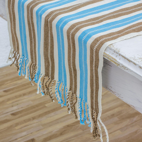 Hand Woven Cotton Table Runner with Natural Color Dyes 'Sky and Earth'