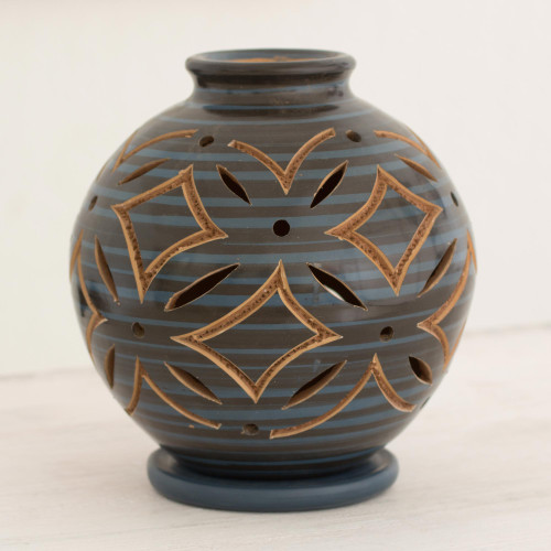 Blue Ceramic Candleholder Handcrafted of Terracotta 'Luminous Blue Petals'