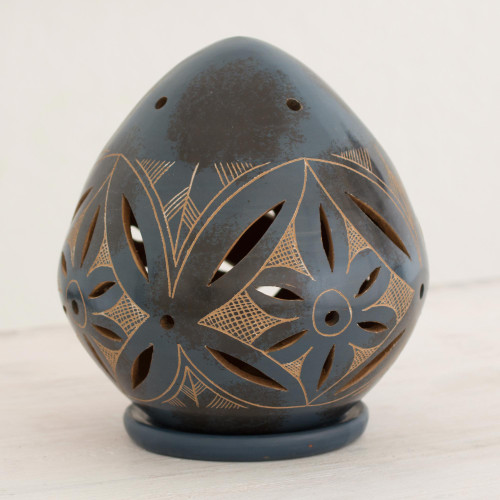 Blue Ceramic Artisan Crafted Tealight Candleholder 'Blue Floral Egg'