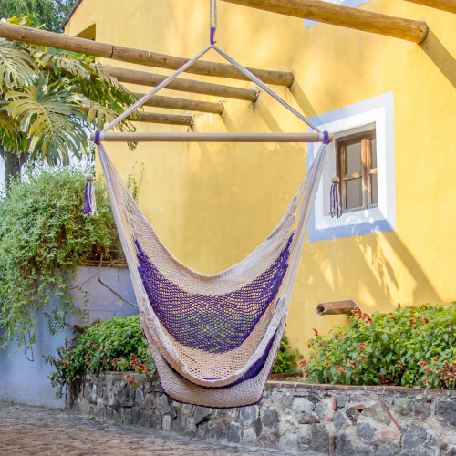 Handwoven Purple Cotton Nicaraguan Hammock Swing 'Purple Paradise'