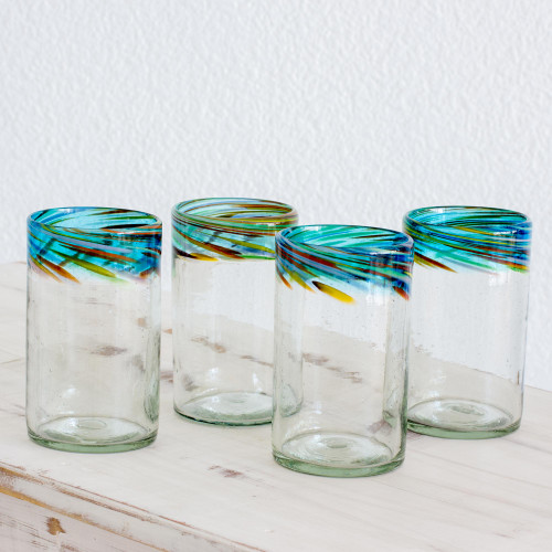 Handblown Recycled Glass Tumblers Large, Set of 4 'Aurora'