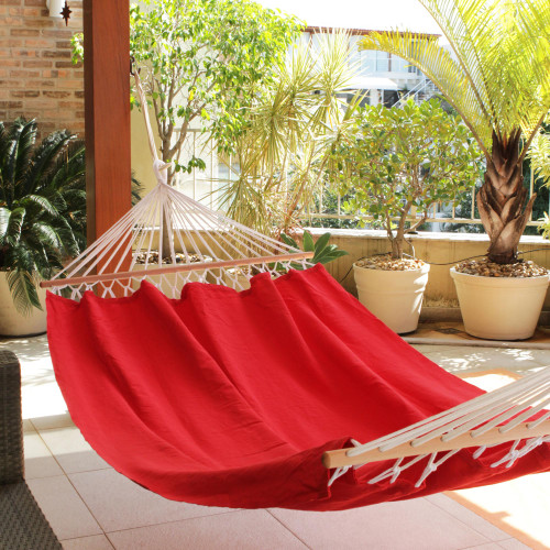 Red Cotton Hammock with Spreader Bars Single 'Ceara Red'