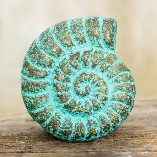 Seashell Wall Art Sculpture Handmade with Recycled Paper 'Fossilized Nautilus'
