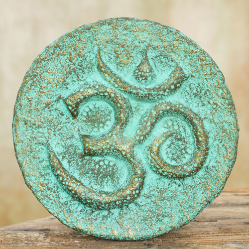Hinduism Art Wall Panel Hand Crafted with Recycled Paper 'Honor Om'