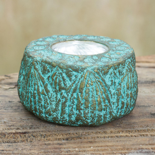 Artisan Crafted Recycled Paper Tealight Candleholder 'Lotus Throne'