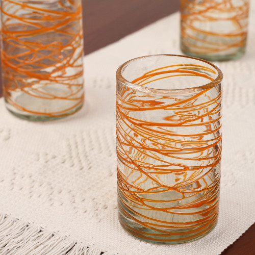 Hand Blown Glass Orange Swirl 13 oz Water Glasses Set of 6 'Tangerine Swirl'