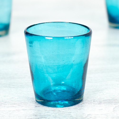 Set of 6 Aquamarine Hand Blown 10 oz Juice Glasses 'Aquamarine Bubbles'