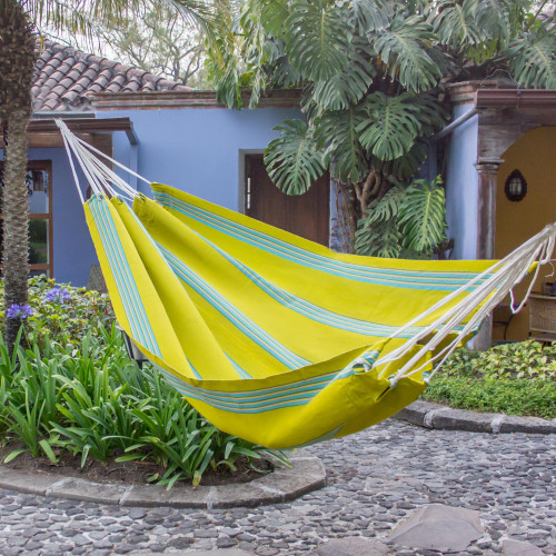 Handwoven Single Hammock in Chartreuse and Turquoise 'Joyous Spring Buds'