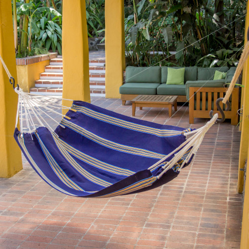 Hand Woven Navy Blue Striped Hammock Single from Guatemala 'Cerulean Voyager'