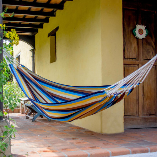 Nature Inspired Handwoven Striped Single Hammock 'Tropical Breeze'