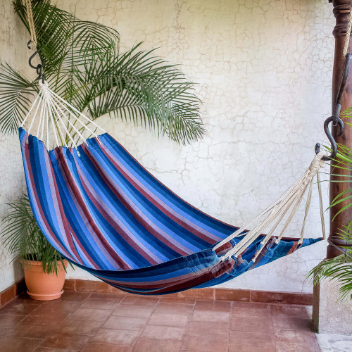 Hand Woven Cyan Mauve Single Hammock from Guatemala 'Beauty of the Lake'