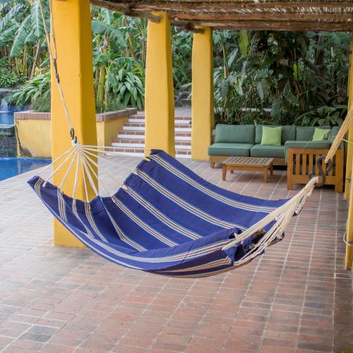 Hand Woven Navy Striped Hammock Double Guatemala 'Seaside Village'